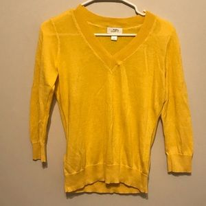 Loft mustard v neck sweater S